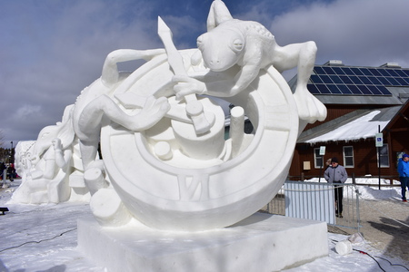 Breckenridge, Colorado, USA: Jan 28, 2018: Time Snow Sculpture by Team Mongolia 2018
