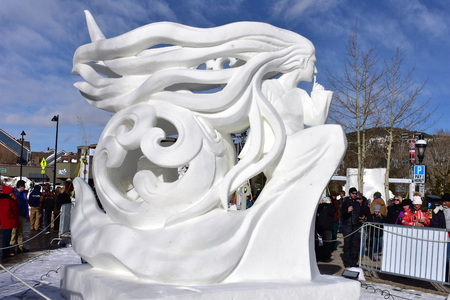 Breckenridge, Colorado, USA: Jan 28, 2018: Secret Snow Sculpture 2018 Editorial
