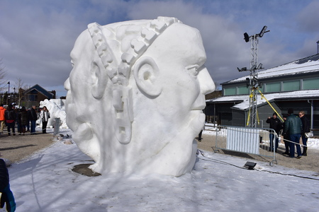 Breckenridge, Colorado, USA: Jan 28, 2018: The woman side...and, the man side Snow Sculpture Editorial