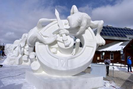 Breckenridge, Colorado, USA: Jan 28, 2018: 2018 Time Snow Sculpture Competition by Team Mongolia