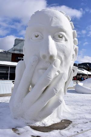 Breckenridge, Colorado, USA: Jan 28, 2018: 2018 Team Turkey presented: Mindful Snow Sculpture Championship Editorial