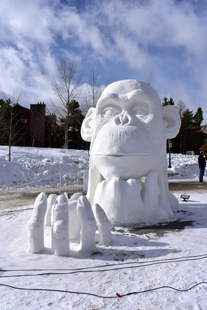 Breckenridge, Colorado, USA: Jan 28, 2018: Breckenridge International Snow Sculpture Championships