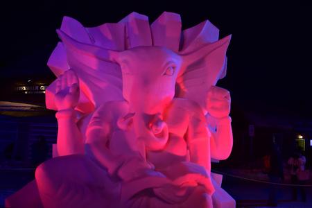 Breckenridge, Colorado, USA: Jan 28, 2018: Lord Ganesha International Snow Sculpture Championships