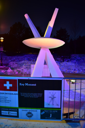 Breckenridge, Colorado, USA: Jan 28, 2018: Key Moment Snow Sculpture at Night by Team Switzerland