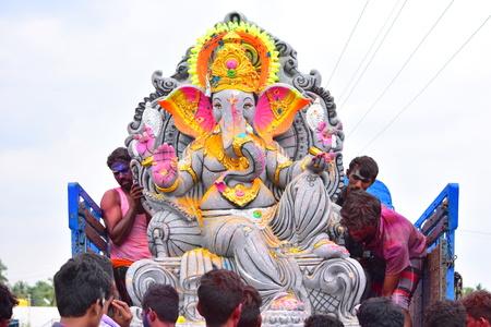 Anaipatti, Tamilnadu - India - September 15 2018: A Giant Size Of Lord Ganesha Idol