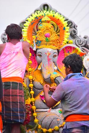 Anaipatti, Tamilnadu - India - September 15 2018: Lord Ganesh Idol