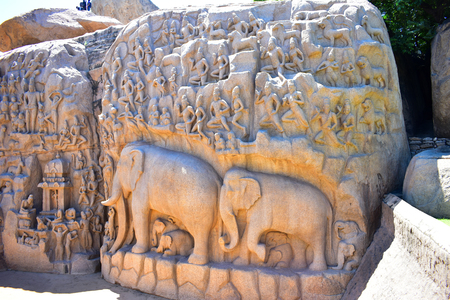 Chennai, Tamilnadu - India - September 09, 2018: Elephant rock carving Descent of the Ganges in Mamallapuram