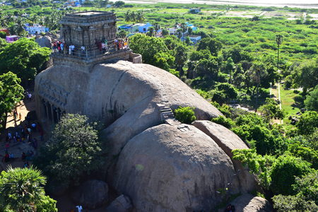 Chennai, Tamilnadu - India - September 09, 2018: Indian rock-cut architecture Redakční