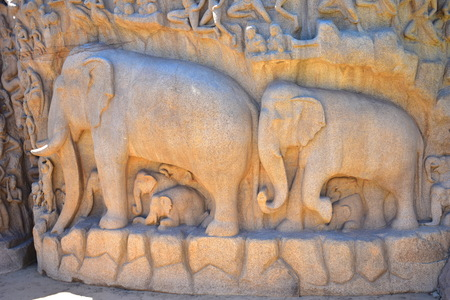 Chennai, Tamilnadu - India - September 09, 2018: Stone carvings on the face of a rock at Arjuna's Penance