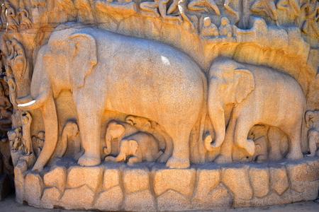 Chennai, Tamilnadu - India - September 09, 2018: Descent of the Ganges or Arjuna's Penance Redakční