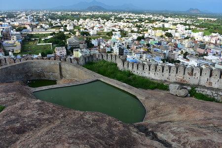 Namakkal, Tamilnadu - India - October 17, 2018: Waterbody at the Namakkal fort