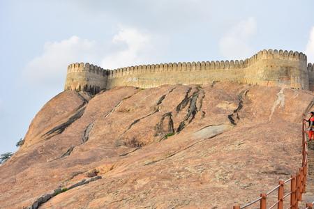 Namakkal, Tamilnadu - India - October 17, 2018: Namakkal Fort and Temple