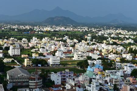 Namakkal, Tamilnadu - India - October 17, 2018: Namakkal town over a hillock 新聞圖片
