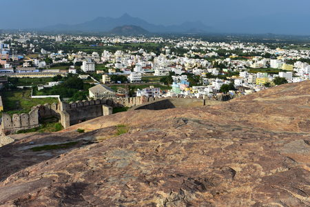 Namakkal, Tamilnadu - India - October 17, 2018: Namakkal Fort City View