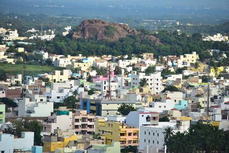 Namakkal, Tamilnadu - India - October 17, 2018: View of Namakkal from Hillock