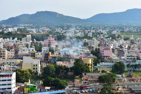 Namakkal, Tamilnadu - India - October 17, 2018: Namakkal City View from Rockfort 新聞圖片
