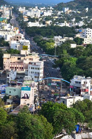 Namakkal, Tamilnadu - India - October 17, 2018: City View of Namakkal from Hillock 新聞圖片