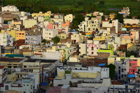 Namakkal, Tamilnadu - India - October 17, 2018: View of Namakkal Town from Hillock
