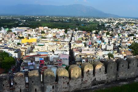 Namakkal, Tamilnadu - India - October 17, 2018: The top view of the city