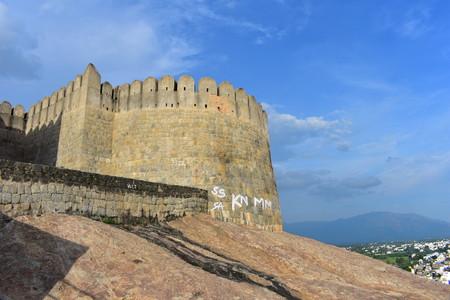 Namakkal, Tamilnadu - India - October 17, 2018: Namakkal Fort and City View
