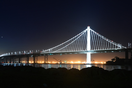 San Francisco, California, USA - August 31, 2015: San Francisco Bay bridge at Night