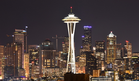 Seattle, Washington, USA - April 17, 2015: Space Needle and Downtown Seattle Editöryel