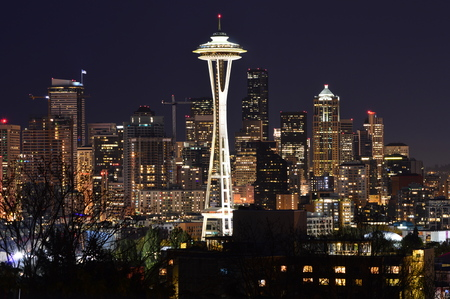 Seattle, Washington, USA - April 17, 2015: Seattle skyline with the Space Needle Editorial