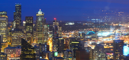 Seattle, Washington, USA - April 17, 2015: The Seattle skyline at night