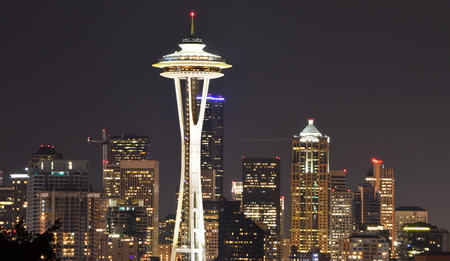 Seattle, Washington, USA - April 17, 2015: Skyline of Seattle Downtown and the Space Needle