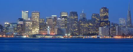 San Francisco, California, USA - August 31, 2015: View of San Francisco Skyline and Oakland Bay Bridge from Treasure Island at Night