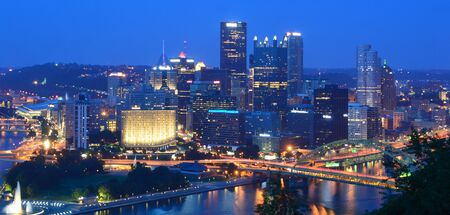 Pittsburgh, Pennsylvania, USA - July 18, 2015: Pittsburgh Skyline at night From Mount Washington