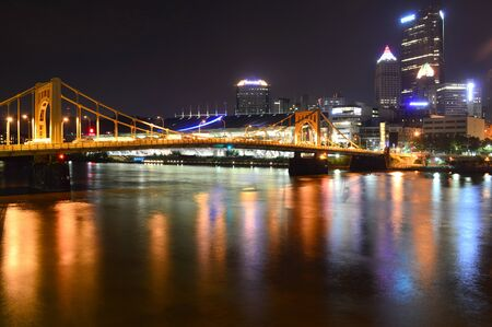 Pittsburgh, Pennsylvania, USA - July 18, 2015: Roberto Clemente Bridge and Pittsburgh Skyline at Night