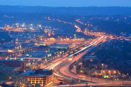 Pittsburgh, Pennsylvania, USA - July 18, 2015: Pittsburgh Skyline at night From Mount Washington
