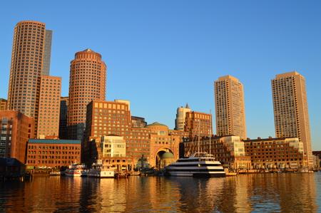Boston, Massachusetts, USA - October 6, 2014: Boston Skyline And Fan Pier