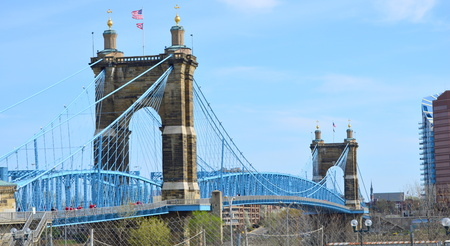 Cincinnati, Ohio, USA - April 13, 2014: John A. Roebling Suspension Bridge in Cincinnati