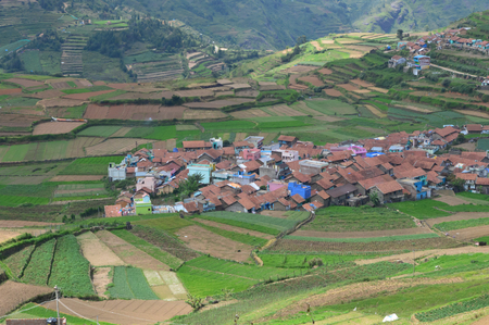 Poombarai Village view from hill top Stock Photo