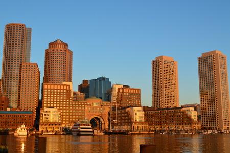Boston, Massachusetts, USA - October 6, 2014: Boston Skyline And Fan Pier Stock Photo