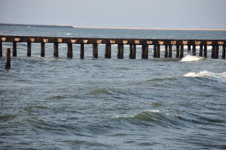 Chennai Ennore Nettukuppam Beach Broken Pier | Stock Photo