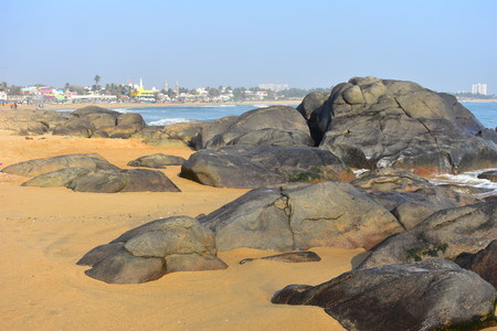 Chennai, Tamilnadu, India: Febrauary 15, 2019 - Rocks in Kovalam beach Stock Photo