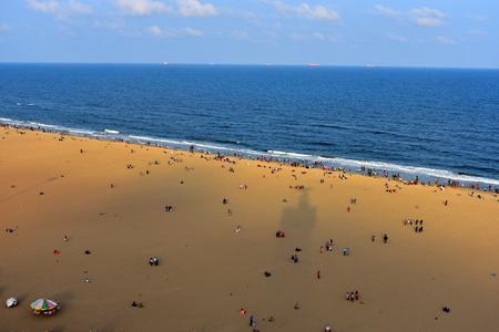 Chennai, Tamilnadu, India: January 26, 2019 - View of Marina beach from lighthouse Chennai
