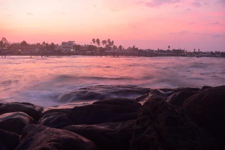 Chennai, Tamilnadu, India: Febrauary 2, 2019 - Sunset at Kovalam Beach