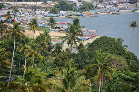 Kollam, Kerala, India: March 2, 2019 - A view from the Tangasseri lighthouse Stok Fotoğraf - 123148595
