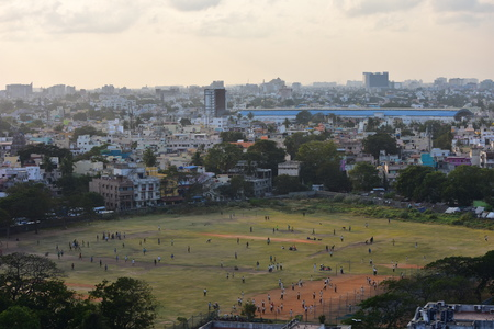 Chennai, Tamilnadu, India: January 26, 2019 - Chennai City Skyline from the Marina Lighthouse Stock Photo