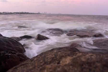 Chennai, Tamilnadu, India: Febrauary 2, 2019 - Sunset at Kovalam Beach Stock Photo
