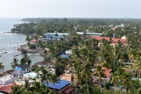 Kollam, Kerala, India: March 2, 2019 - A view from the Tangasseri lighthouse Stok Fotoğraf - 123149151