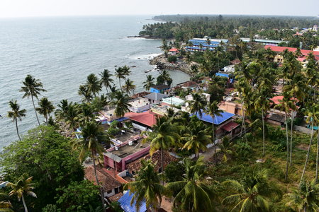Kollam, Kerala, India: March 2, 2019 - A view from the Tangasseri lighthouse Stok Fotoğraf - 123149203