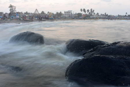 Chennai, Tamilnadu, India: Febrauary 2, 2019 - Sunset at Kovalam Beach