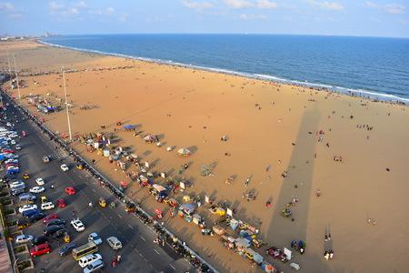 Chennai, Tamilnadu, India: January 26, 2019 - The Shadow of Light House in Marina Beach