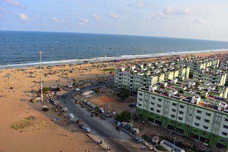 Chennai, Tamilnadu, India: January 26, 2019 - Beach View from the Marina Lighthouse