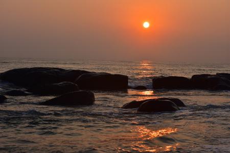 Chennai, Tamilnadu, India: Febrauary 15, 2019 - Sunrise at Kovalam Beach in Chennai Stock Photo